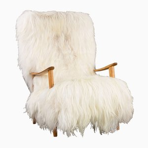 Mid-Century Danish High Back Lounge Chair with Long Sheepskin