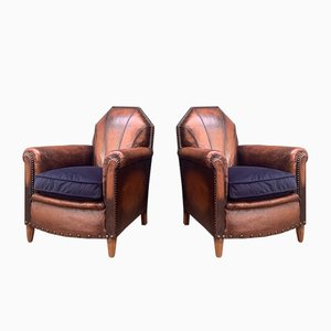 Antique French Leather Club Chairs with Byzantine Back, Set of 2