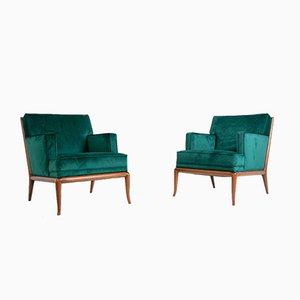 Mid-Century Green Velvet Lounge Chairs by T. H. Robsjohn-Gibbings, Set of 2