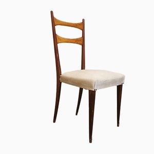 Italienische Esszimmerstühle mit Holzrahmen & Cremefarbenem Stoffsitz im Stil von Osvaldo Borsani, 1950er, 6er Set