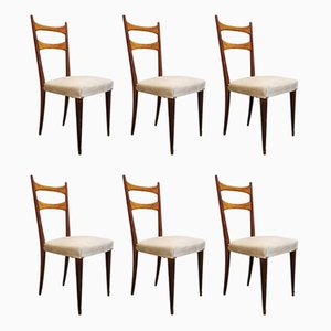 Italian Dining Chairs with Wooden Frame & Cream Colored Fabric Seat in the Style of Osvaldo Borsani, 1950s, Set of 6