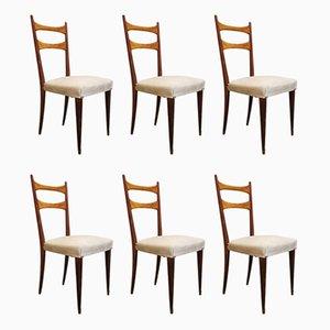 Sillas de comedor italianas con estructura de madera y asiento de tela color crema al estilo de Osvaldo Borsani, años 50. Juego de 6