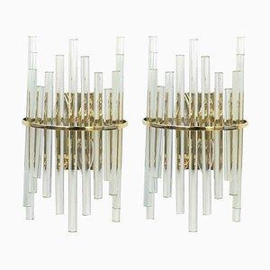 German Crystal Rod Sconces by Christoph Palme, 1970s, Set of 2