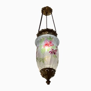 Antique Art Nouveau Hand-Painted Pendant Lamp