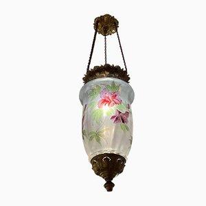 Antique Art Nouveau Hand-Painted Pendant Lamp