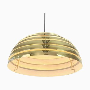 Large German Brass Dome Pendant Light by Florian Schulz, 1970s