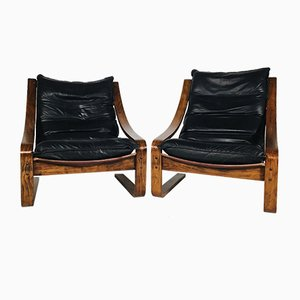 Vintage Leather & Rosewood Armchairs, 1960s, Set of 2