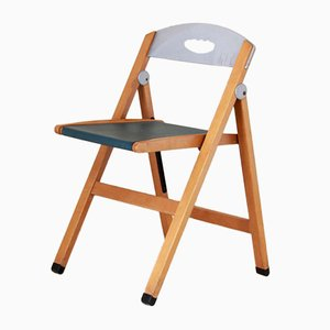 Wood & Plastic Folding Chairs from Foppapedretti, 1980s, Set of 5
