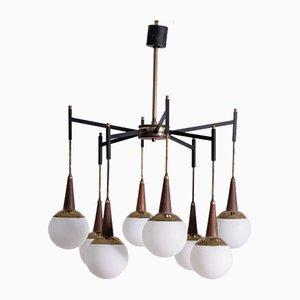 Italian Stilnovo Style Brass & Wood Ceiling Lamp, 1950s