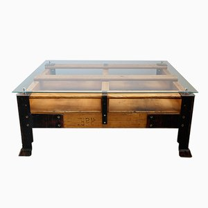 Industrial Pallet Coffee Table with Glass Top