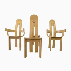 Brutalist Style Oak Dining Chairs, 1980s, Set of 4