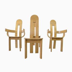 Chaises de Salon Style Brutaliste en Chêne, 1980s, Set de 4