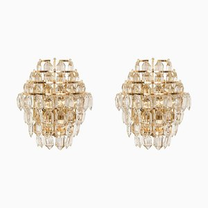 Austrian Brass & Crystal Glass Sconces from Bakalowits & Söhne, 1970s, Set of 2