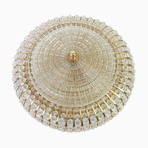Große Deutsche Messing, Glas & Lucite Perlen Deckenlampe von Hillebrand Lighting, 1970er