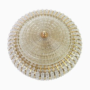 Large German Brass, Glass & Lucite Bead Ceiling Lamp from Hillebrand Lighting, 1970s