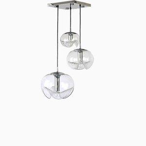 Lámpara colgante Sputnik alemana era espacial de cromo de Peill & Putzler, años 70