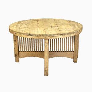 Large Circular Pine Dining Table, 1930s