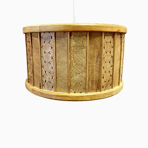 Large Scandinavian Solid Wood Ceiling Lamp, 1950s