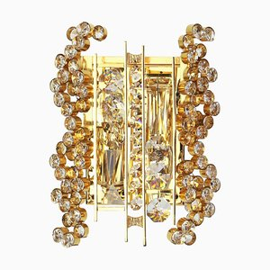 German Gilded Brass & Crystal Glass Sconce from Palwa, 1970s