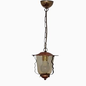 Vintage Lantern-Shaped Copper, Iron & Brass Ceiling Lamp with Yellow-Gold Transparent Glass Shade, 1950s