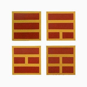 Gelbe und rote Bilder von Flore Civan-Giudicelli, 4er Set