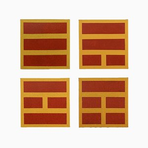 Yellow and Red Paintings by Flore Civan-Giudicelli, Set of 4
