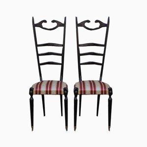 Sedie da pranzo Chiavari in mogano di Paolo Buffa, anni '50, set di 2
