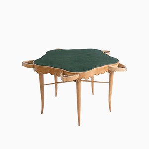 Maple, Brass and Velvet Game Table by Paolo Buffa, 1950s