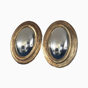 Antique Oval Giltwood Convex Butler Mirrors, 19th Century, Set of 2