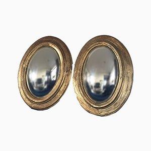 Specchio Butler convesso in legno dorato antico, XIX secolo, set di 2