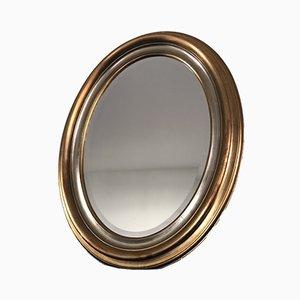 Specchio Mid-Century ovale sfaccettato in oro e argento, anni '60