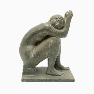 Marta Leseneyei, Skulptur sitzend, 1970er Olivgrün Terrakotta