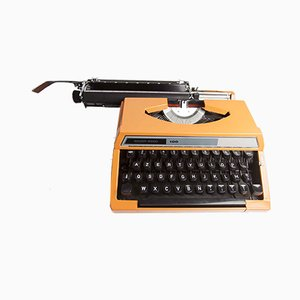 Orange Silver Reed 100 Typewriter from Seiko co. Ltd, 1970s