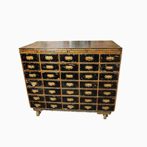 Large British Industrial Chest of 35 Drawers with Brass Index Handles on Large Castors, 1950s