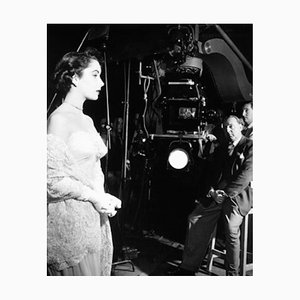Elizabeth Taylor On Set Archival Pigment Print Framed in White by Everett Collection