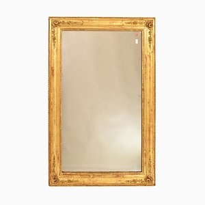 Antique Rectangular Wall Mirror with Gold Leaf Frame & Roses, 19th Century