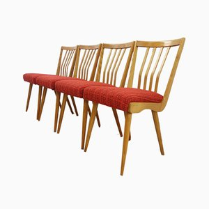Wood & Red Fabric Dining Chairs from Krkonošský Nábytek, 1962, Set of 4
