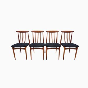 Wood & Black Fabric Dining Chairs, 1960s, Set of 4