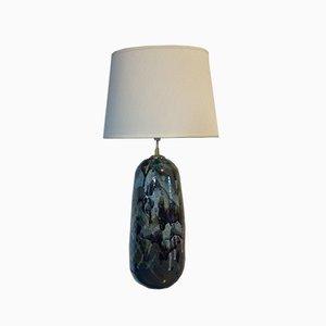 Lampada da tavolo grande vintage in ceramica verde