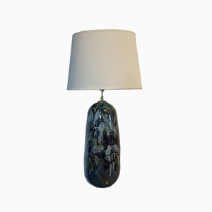 Large Vintage Green Ceramic Table Lamp