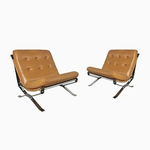 Leatherette & Chrome Lotus Chairs by Ico Luisa Parisi for MIM, 1960s, Set of 2