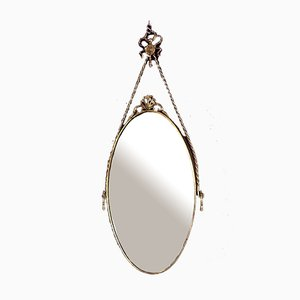 Italian Oval Brass Mirror with Decorative Frame, 1950s
