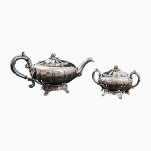 English Silver-Plated Tea Service from Viners of Sheffield, 1960s, Set of 2