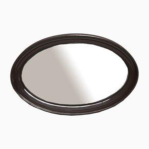Specchio ovale marrone, anni '70