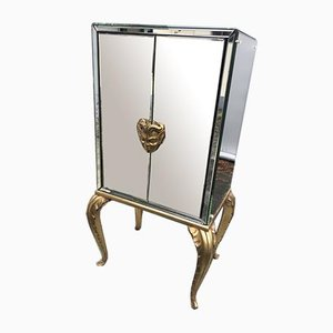 French Mirrored Pan Cabinet from Maison Jansen, 1940s