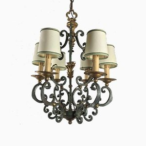 Lacquered & Gilded Wrought Iron Chandelier, 1950s