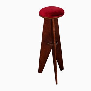 Reconstruction Style Wooden Stools, 1950s, Set of 4