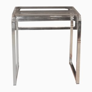 Mid Century Modern Chrome & Lucite Side or Accent Table, 1970s