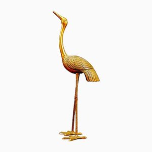 Hollywood Regency Brass Crane Bird Sculpture, 1960s