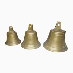 Pre-War Brass Bells, 1920s, Set of 3